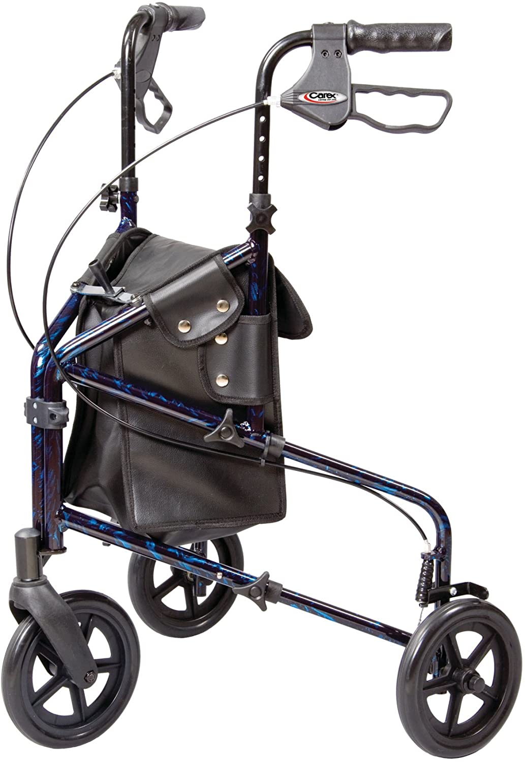 Carex 3 Wheel Walker for Seniors, Foldable, Rollator Walker with Three Wheels, Height Adjustable Handles