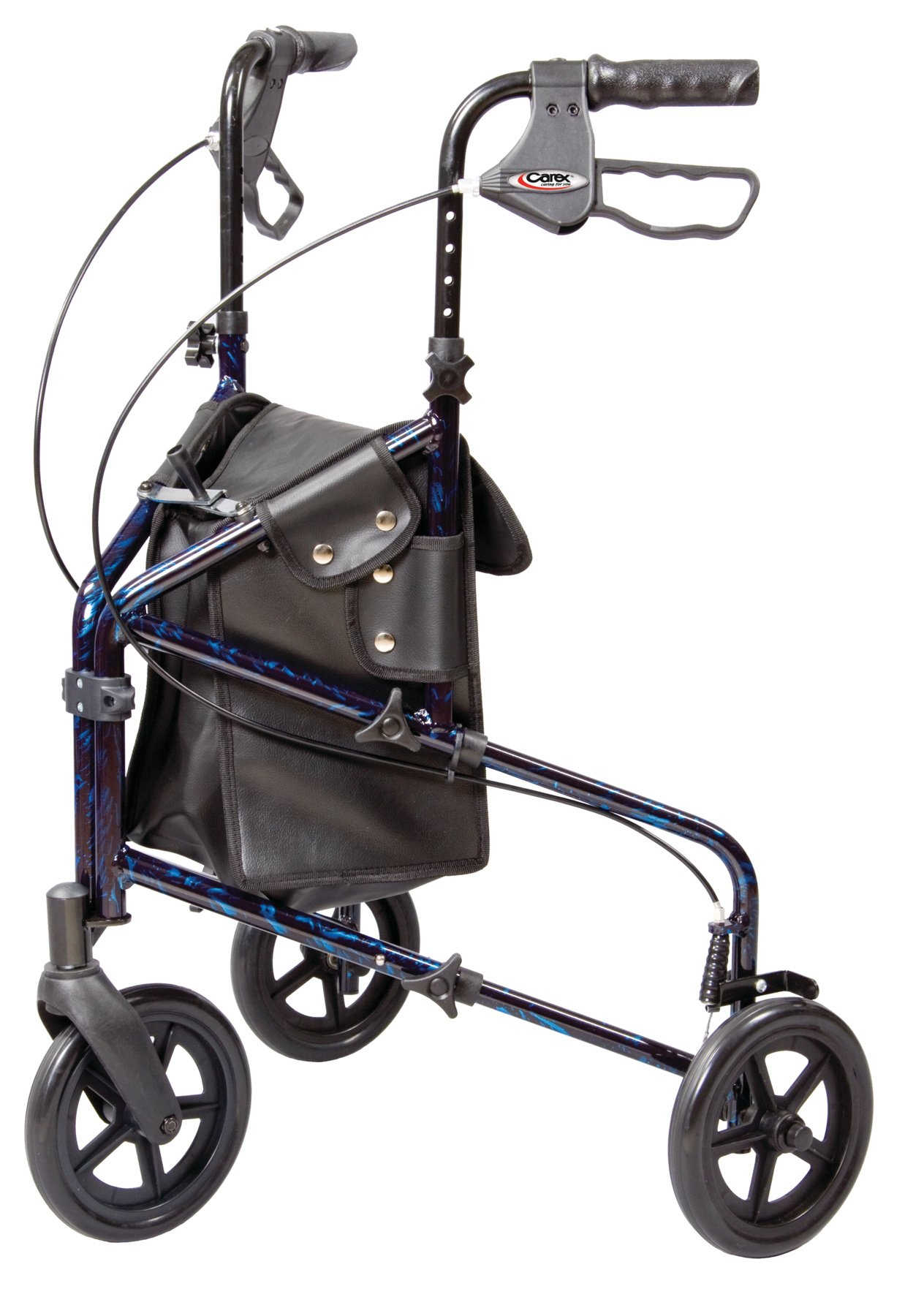 Carex 3 Wheel Walker for Seniors, Foldable, Rollator Walker with Three Wheels, Height Adjustable Handles by Carex Health Brands