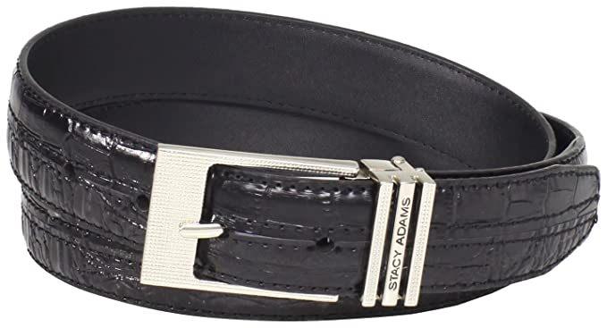 STACY ADAMS MEN/'S 30MM CROCO EMBOSSED LEATHER BELT BRUSHED GOLD BUCKLE NEW