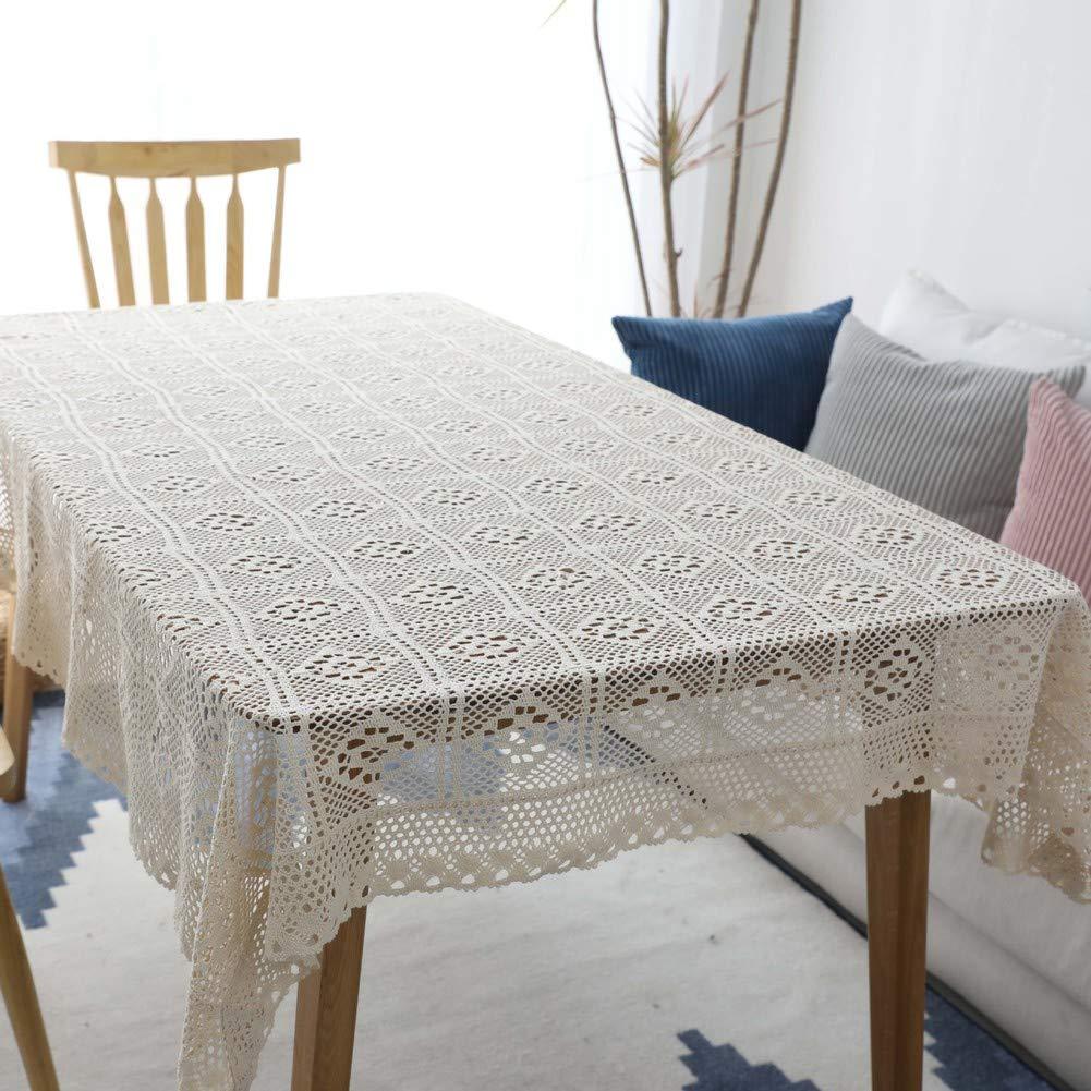 HOMEJYMADE Mantel Calado,Ganchillo Hecho a Mano Perforada Cubierta de Tabla Mantel de algod/ón Crema Estilo Rural-A 24 24in