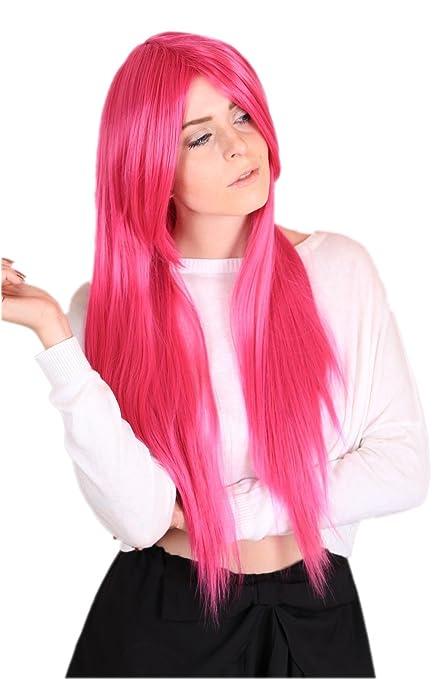 6 opinioni per Cosplayland- C116 Parrucca 80cm resistente al calore capelli  lunghi lisci rosa ade83006020c