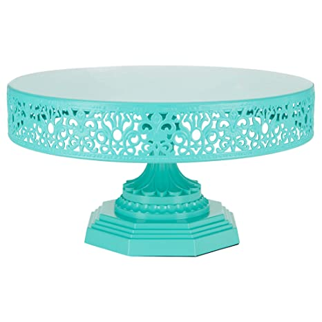 Isabelle Collection Teal 12 Inch Metal Cake Stand Round Wedding Birthday Party Dessert Cupcake Pedestal  sc 1 st  Amazon.com & Amazon.com | Isabelle Collection Teal 12 Inch Metal Cake Stand ...