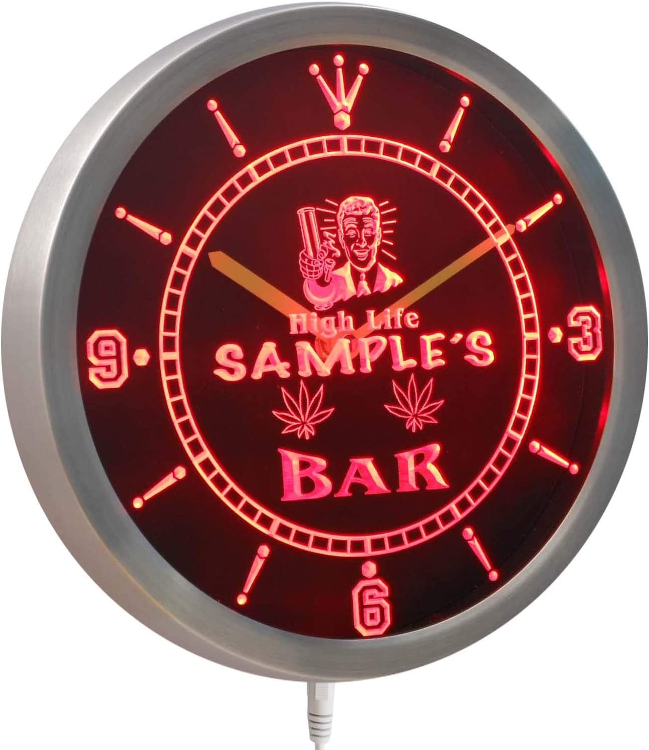nctp-tm Name Personalized Custom Marijuana High Life Bar Neon Sign LED Clock