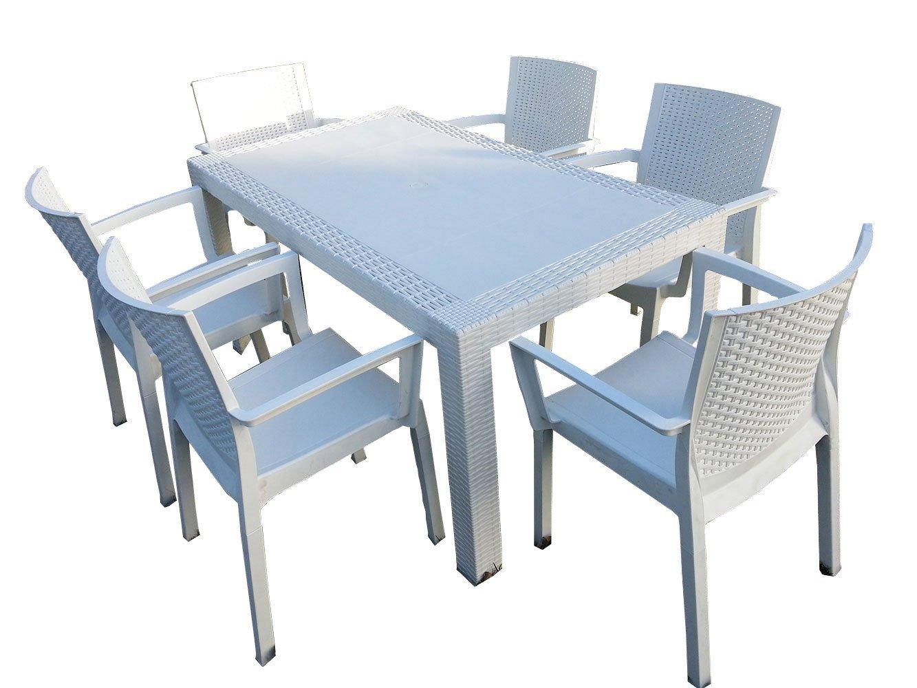 Rattan giardino outsunny set mobili da giardino in pe rattan tavolo con sedie e poggiapiedi con - Cassapanca plastica da esterno ...