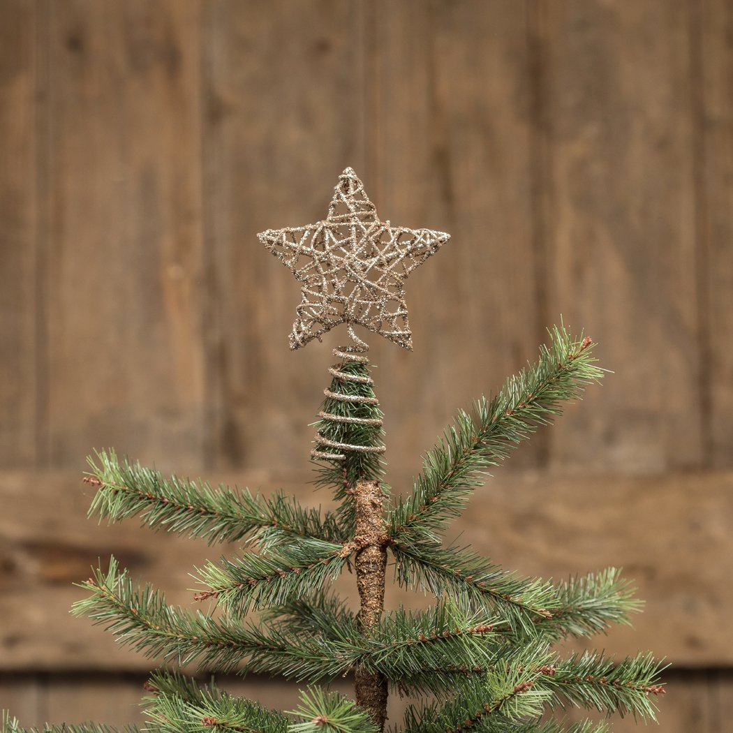 4 IN LOOSE WEAVE CHAMPAGNE GLITTER STAR TREE TOPPER