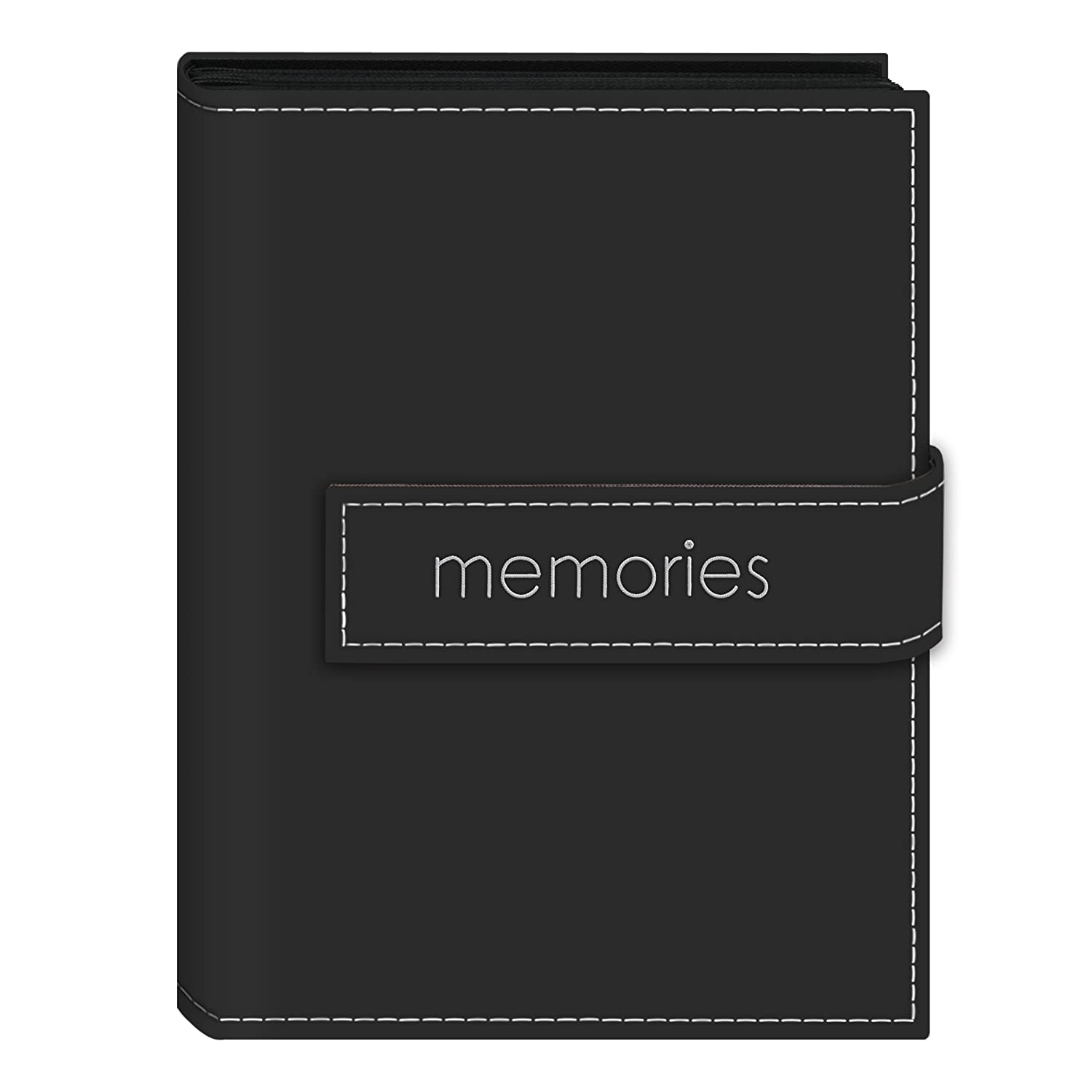 Pioneer Photo Albums 36-Pocket 5 by 7-Inch EmbroideredMemories Strap Sewn Leatherette Cover Photo Album, Mini, Black EXP-57/BKM