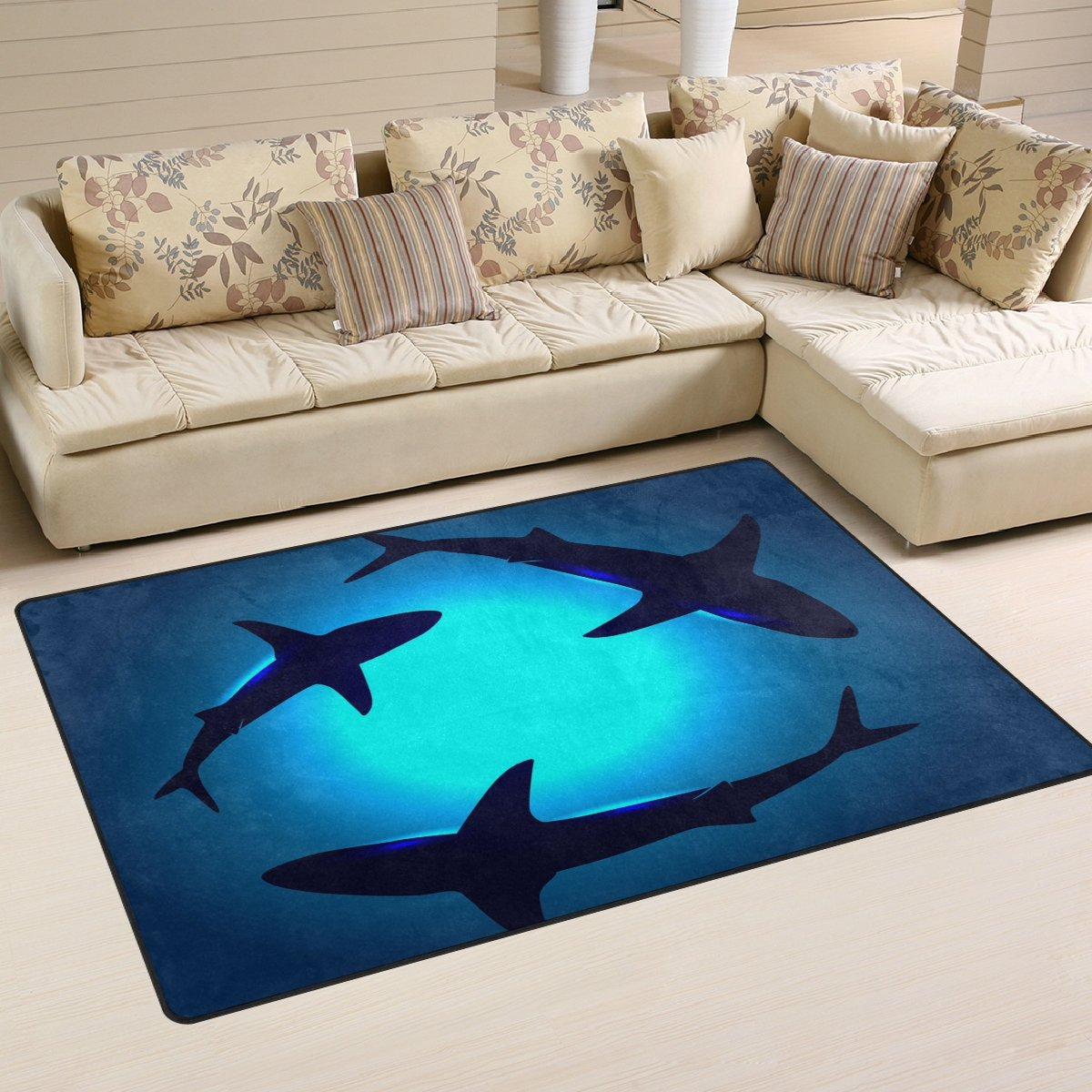 Naanle Ocean Animal Sharks Non Slip Area Rug for Living Dinning Room Bedroom Kitchen, 3 x 5 39 x 60 Inches , Shark Nursery Rug Floor Carpet Yoga Mat