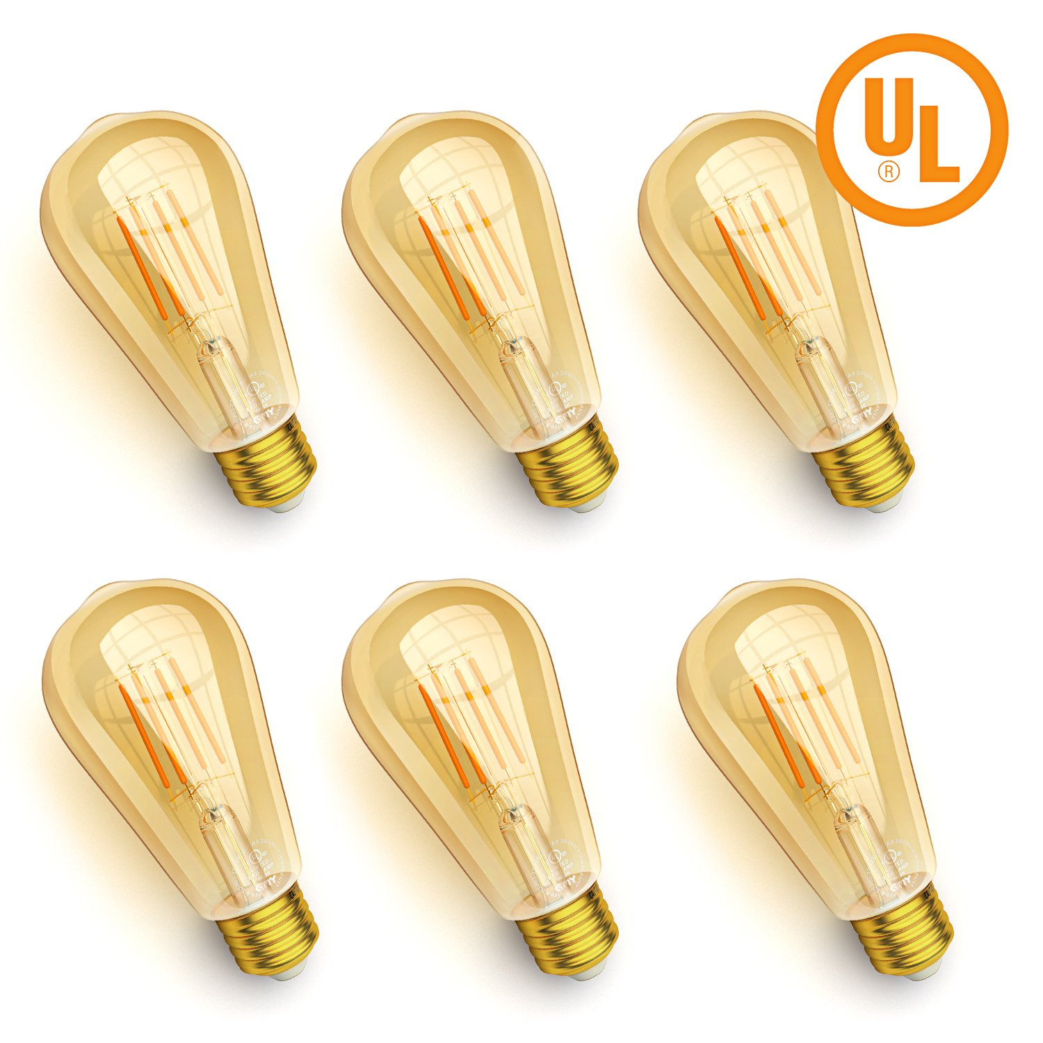 Dimmable Vintage Edison LED Light Bulb Energy Saving, GMY UL Listed Filament Bulbs, 2200K Warm White, Ideal for Decorate Home, Amber Gold Glass and E26 Base (4.5W-Pack of 6)