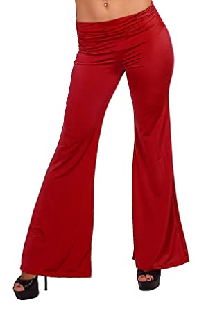 Full Length Flare Elephant Wide Leg Gaucho Casual Yoga Workout Gym ...