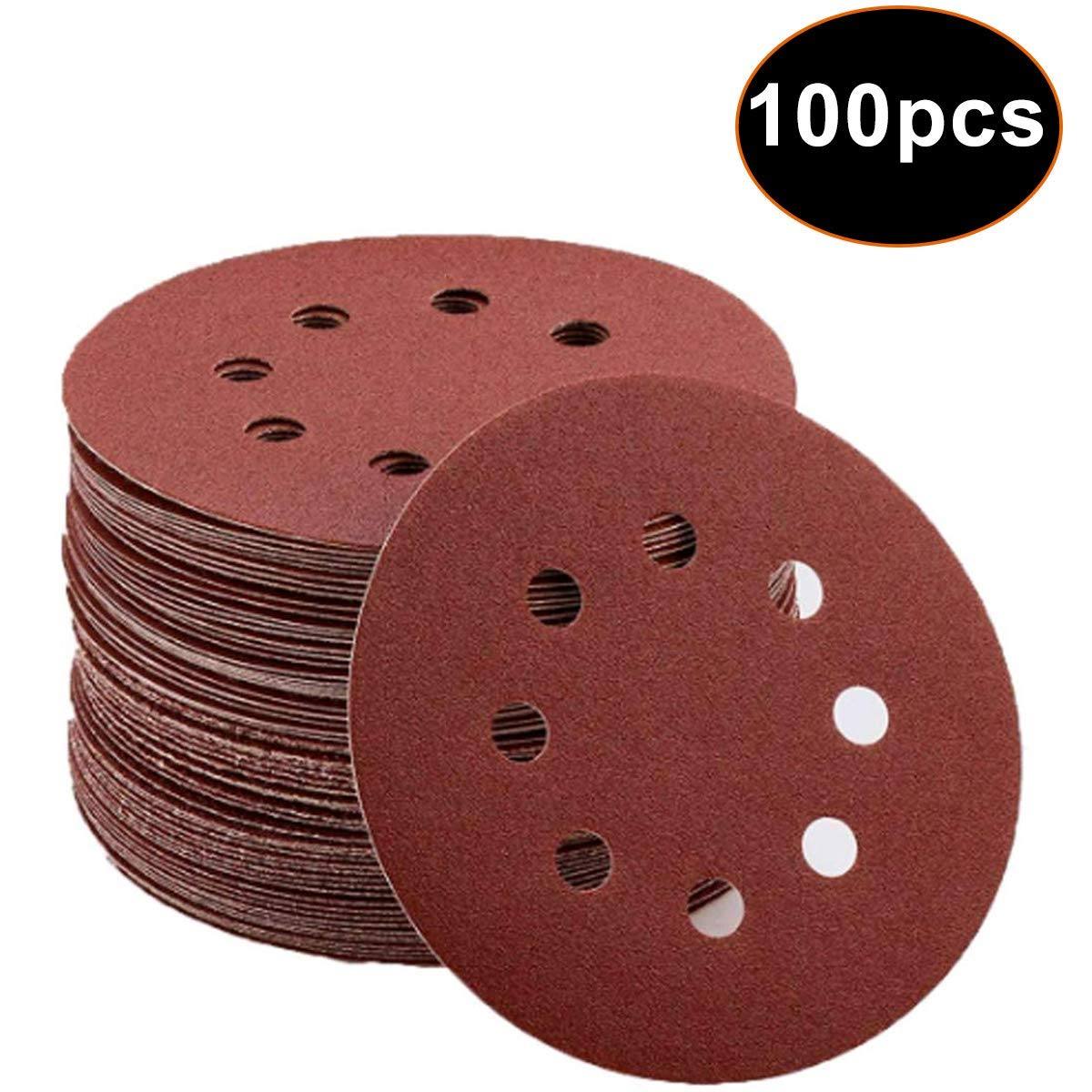 100 pcs Sandpaper Sanding Discs Pads 40 60 80 100 120 180 240 320 400 800 Assorted Grits 5 inch 8 Hole and Loopby for Random Orbital Sander