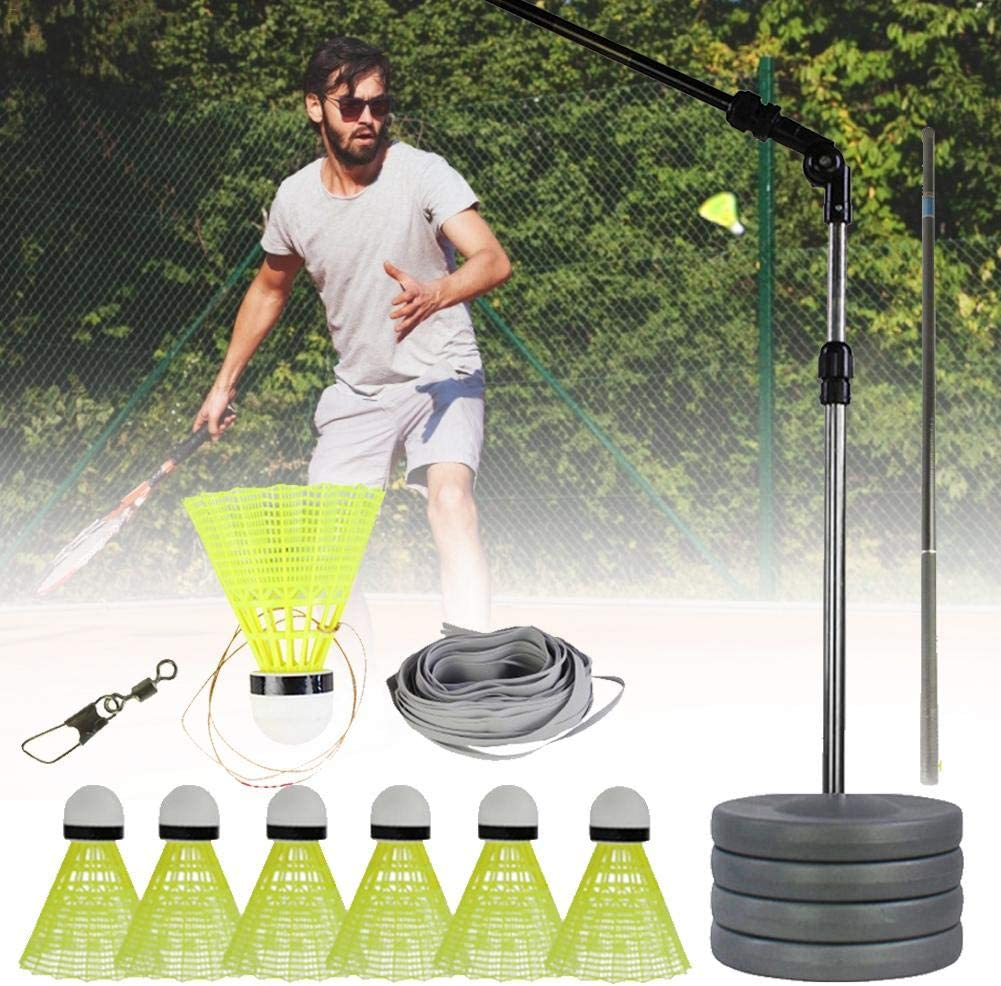 TARTIERY Badminton Trainer Device,Self-Study Equipment Practice Training For Indoor Or Outdoor Use Beginner Telescopic Elastic Rod,Water Injection Base,Elastic Line,Basic Connection,Badminton Balls