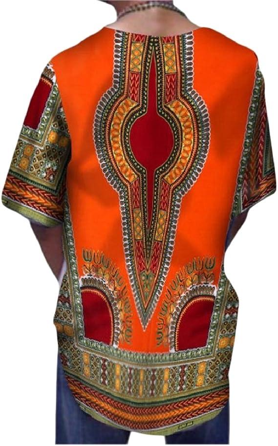 Vska Men Tops Longline Batik African Print Dashiki Button-Down-Shirts