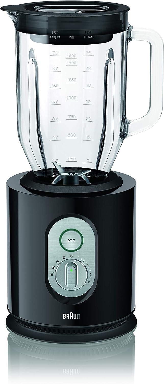 Braun JB5160BK Identity - Batidora de vaso, 1000 w, jarra de cristal 2 litros, control de velocidad electrónico, negro