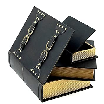 Bellaa 28212 Faux Leather Wood Secret Storage Books Box Set Of 3