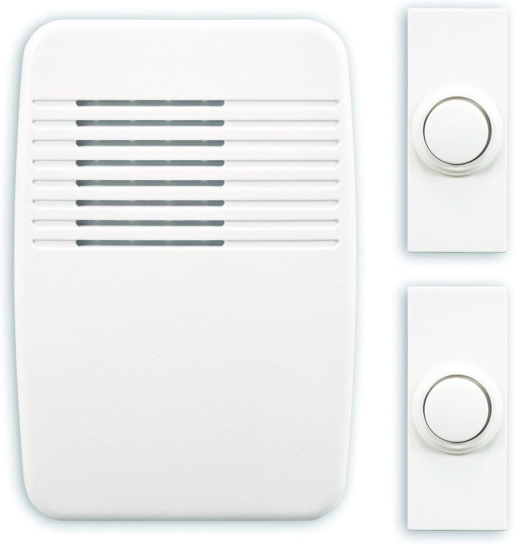 Heath Zenith SL-6167-C Heathco Sl-7367-02 Plug-In Wireless Doorbell Kit, 3 Tones, Plastic, 5-1/8 In H X 3-1/2 In W X 1-3/8 In D, White