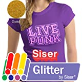 """SISER GLITTER Heat Transfer Vinyl (Tshirt HTV) 20"""" x 12"""" - GOLD"""