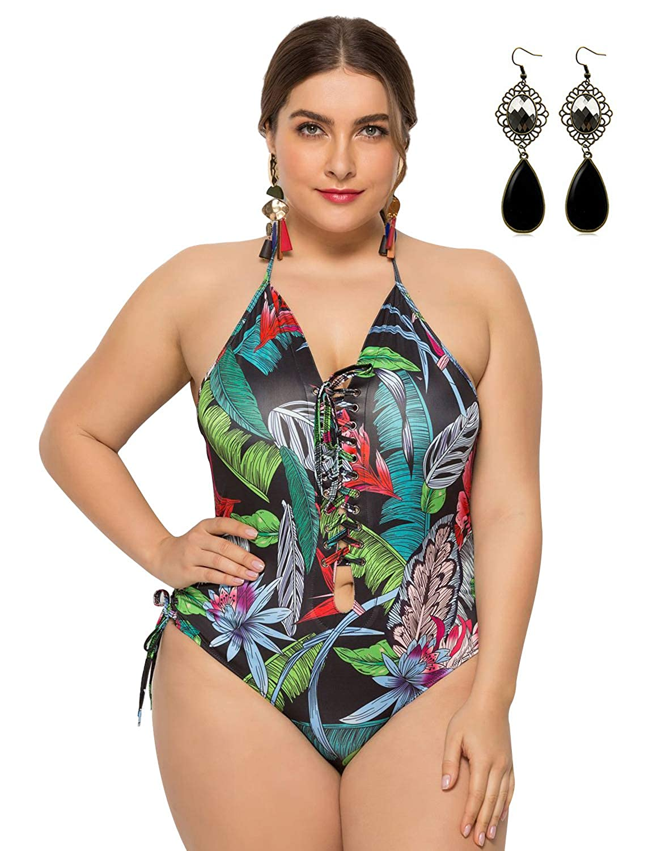 PIPIHU Mujer Bikini Halter Una Pieza Bañador Retro Tallas Grandes ...