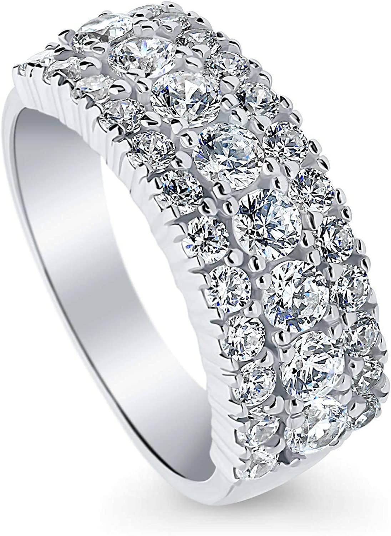 BERRICLE Rhodium Plated Sterling Silver Art Deco Anniversary Wedding Half Eternity Band Ring Made with Swarovski Zirconia