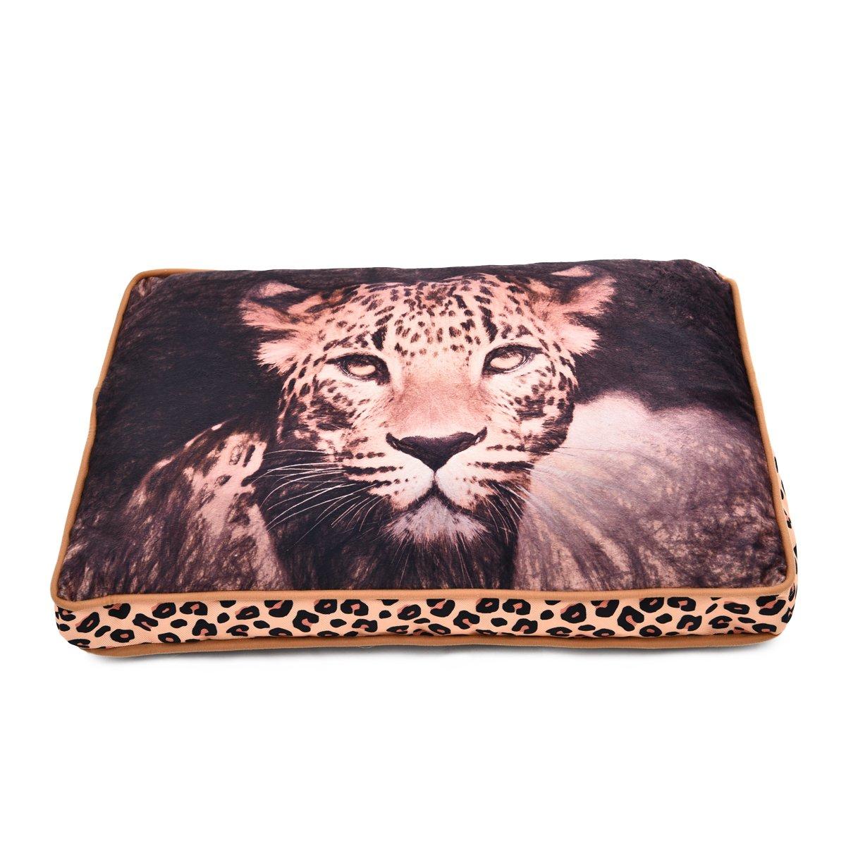 Animal Print Padded Pet Bolster Bed For Dog Cat Warm Puppy Kitten Cushions Fleece Mat Leopard Pattern Dog Beds Small(19.7''x13.8''x4.4'')