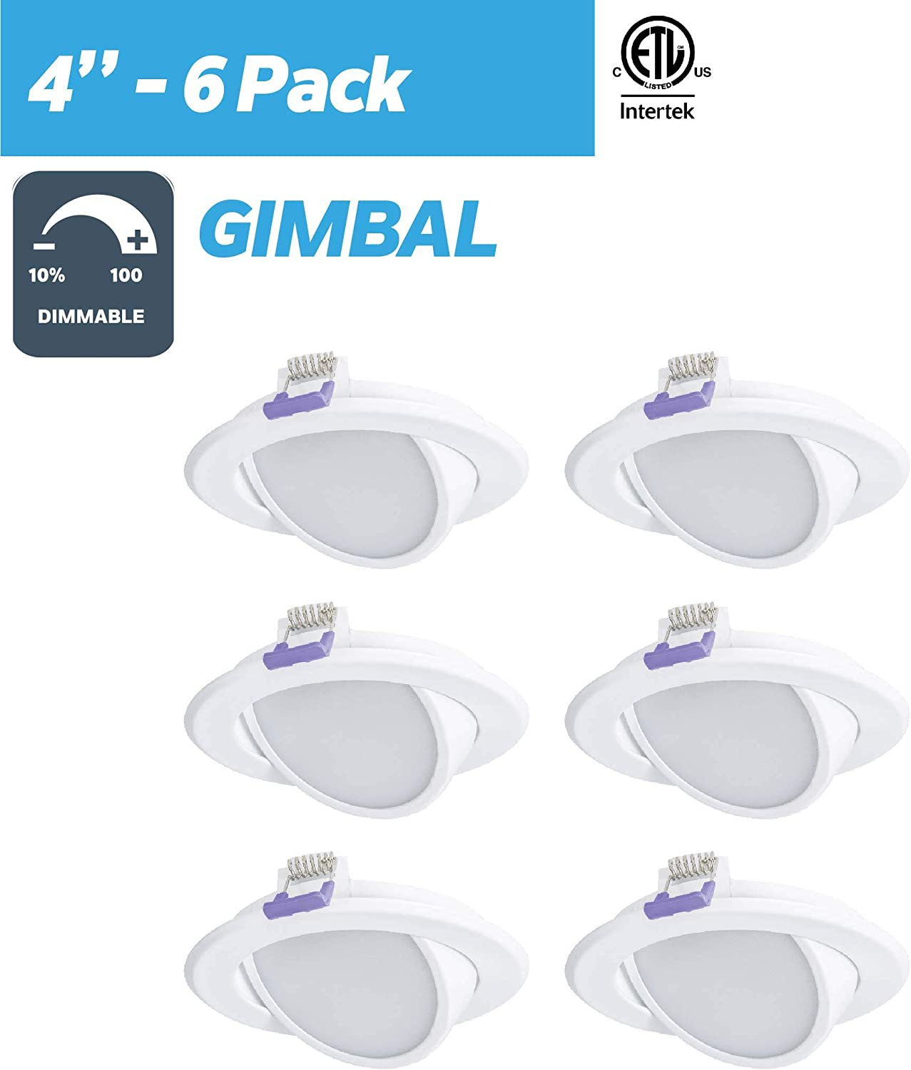 Finish LED Slim Swivel Panel Light Nadair SL4-550SW-6WH3K 6 Pack 4 Ic Rated Dimmable Gimbal Ultra Recessed Junction Box 3000K Warm White 6-Pack 9W 550 Lumens Energy Star