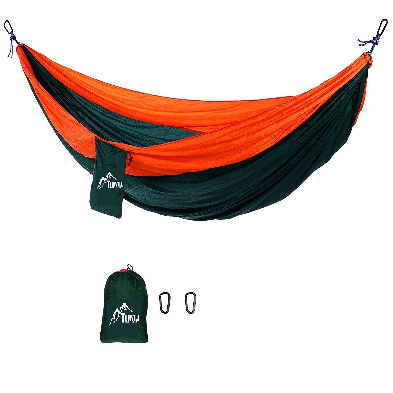 Tuwellアウトドア旅行軽量ポータブルナイロンパラシュート多機能キャンプハンモックwithロープとカラビナ入り(オレンジ/グリーン) B075P2WJPN