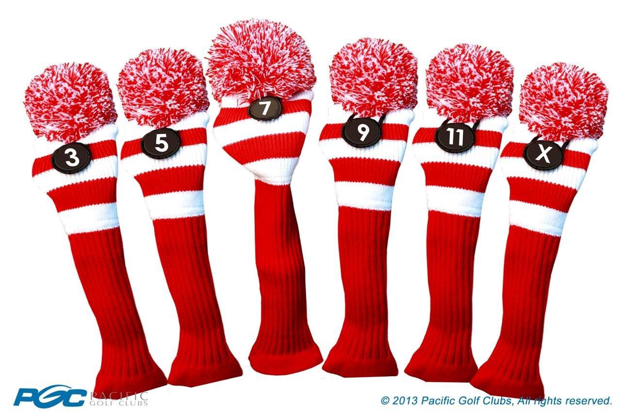 Majekゴルフクラブ3 5 7 9 11 xホワイトとレッドLimited EditionフェアウェイウッドヘッドカバーツアーニットレトロヴィンテージPomクラシックロングネックメタルLongneck Woods Headcovers B01DSD8OG2