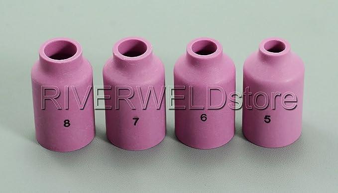 TIG Back Cap boquillas de cerámica Cup Gasket Kit Fit DB SR WP 17 18 26 Serie 51pcs: Amazon.es: Bricolaje y herramientas
