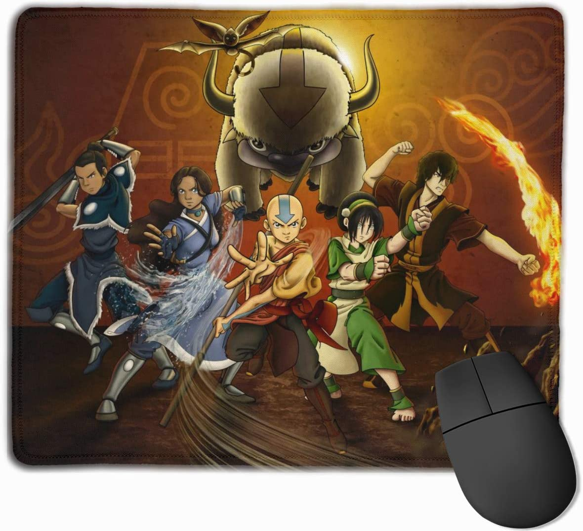 Avatar The Last Airbender Mouse Pad with Locking Edge Gaming Speed Version Medium Cloth Mouse Mat Non-Slip Rubber Base Mousepad for Laptop Keyboard PC Computer
