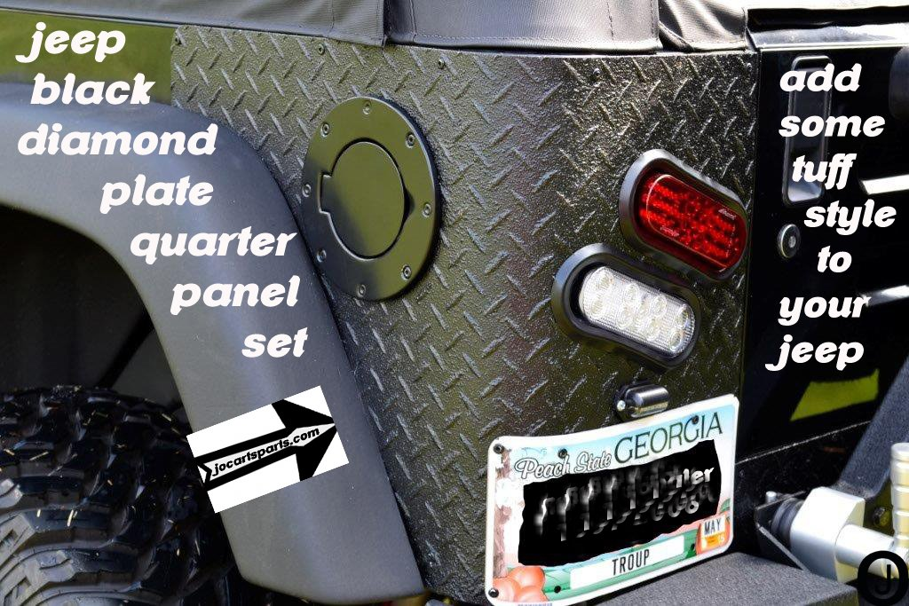 Jeep Cj7 or Yj Wrangler 'Black' 3 Pc Diamond Plate Rear Corner Guards J & O Carts Parts