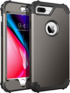 BENTOBEN Case for iPhone 8 Plus, iPhone 7 Plus Case, 3 in 1 Hybrid Hard PC Soft Rubber Heavy Duty Rugged Bumper Shockproof Anti Slip Full-Body Protective Phone Cover for iPhone 8 Plus/7 Plus, Gunmetal