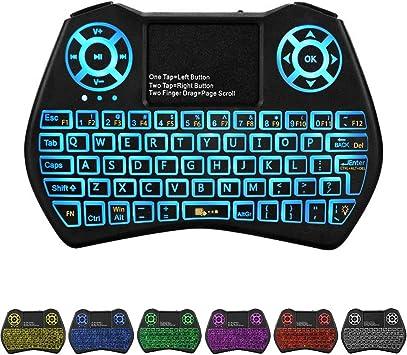HaFen Mini Teclado Retroiluminado Touchpad Mouse, Mini Teclado Inalámbrico con Touchpad y Teclas Multimedia para Android TV Box
