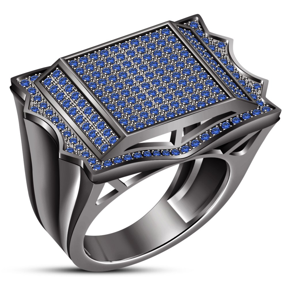 TVS-JEWELS Mens Engagement Wedding Ring with 925 Silver Black Rhodium Plated Round Cut Blue Sapphire