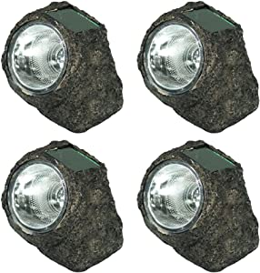 Sunnydaze Solar Rock Lights - Outdoor LED Landscape Sun-Powered Spotlight - Set of 4 Decorative Garden Pathlights - Natural Stone Appearance - Light Up Your Patio, Porch, Yard or Walkway
