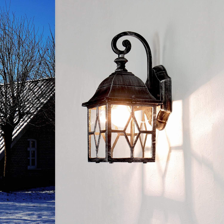 Au/ßen Wandlampe Antik Gold E27 Ornament Glas rustikal Alu IP23 Wegbeleuchtung Garten Haus Fassade