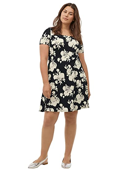 Ellos Women\'s Plus Size Short Sleeve A-Line Knit Dress