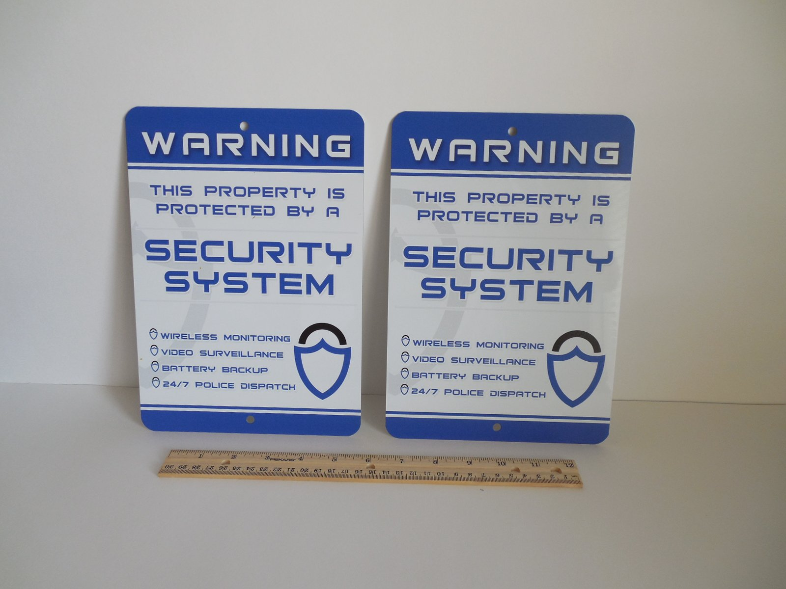 2 Home Security Alarm Security System 7'' x 10'' Metal Yard Signs - Stock # 719