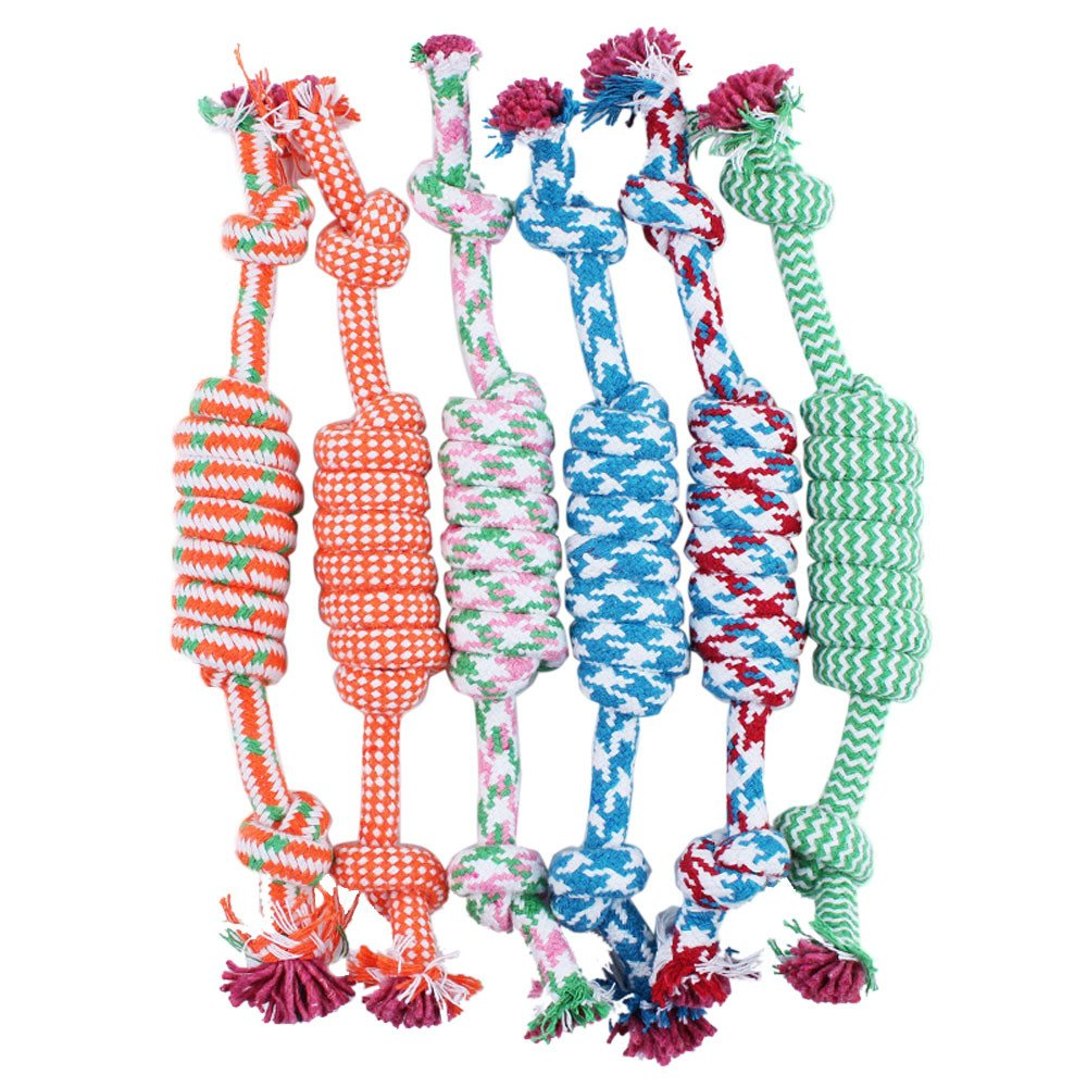 HUN Huangou Dog Toys Puppy Dogs Durable Cotton Knots Perfect Tug War Toss Fetch Games Chew Knot Random Color (27CM, Random)