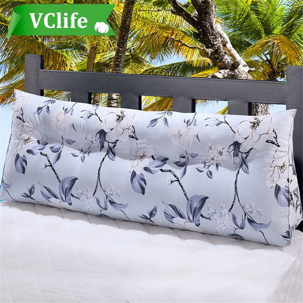 VClife Canvas Back Firm Support Lumbar Pillow Sofa Bed Large Filled Triangular Wedge Cushion Bed Backrest Positioning Support Pillow Reading Pillow Office Lumbar Pad,71x19x7.9inch