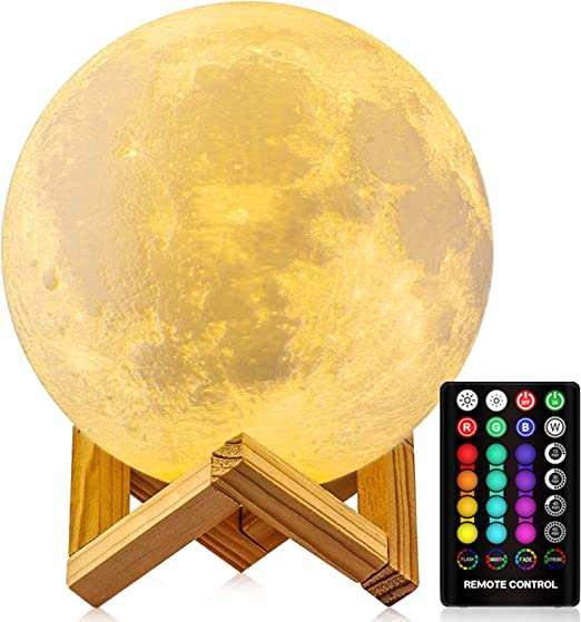 MEETPEAK Moon Night Light Built-in Music Speaker /& White Noise 5.9 inch 18 Colors LED 3D Print Moon Light with Timing /& Stand /& Remote Control USB Rechargeable Gifts for Baby Girls Birthday Moon Lamp