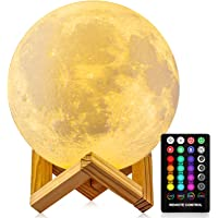 Moon Lamp, GDPETS 3D Printing Moon Night Light with Stand, Touch& Remote Control 3D Moon Lamp 16 Color Decorative Moon…