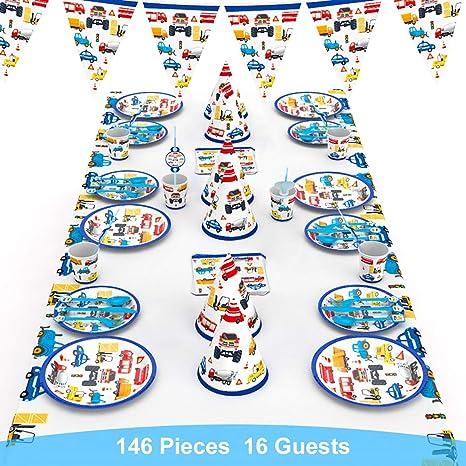 decalmile 146 Piezas Vajilla Diseño de Transportes para 16 Infantiles Decoración de Fiesta de Cumpleaños (Platos, Tenedores Cucharas Cuchillos, Vasos, ...