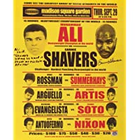 $36 » Earnie Shavers Signed 16x20 Replica 1977 Fight Poster vs. Muhammad Ali with Extensive Inscription (Shavers Hologram)
