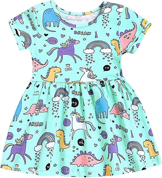 Bumeex Little Girls Cotton Casual Cartoon Print Short Sleeve Skirt Dresses