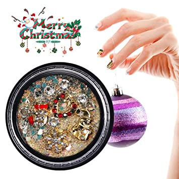 Calcomanías de uñas con diamantes de imitación 3D, calcomanías de manicura de mezcla de lentejuelas de aleación de diamantes de imitación de Navidad(#02): ...