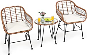 Tangkula 3 Pieces Patio Conversation Bistro Set, Outdoor Wicker Furniture w/Round Tempered Glass Top Table & 2 Rattan Armchairs, Bistro Chat Set w/Seat Cushions for Porch, Backyard, Garden (White)