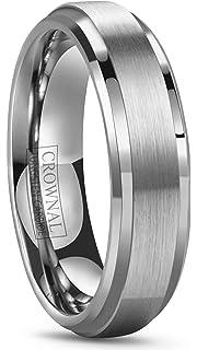 6mm 8mm 10mm tungsten wedding band ring men women polished beveled edge matte brushed finish center - Mens Tungsten Wedding Rings