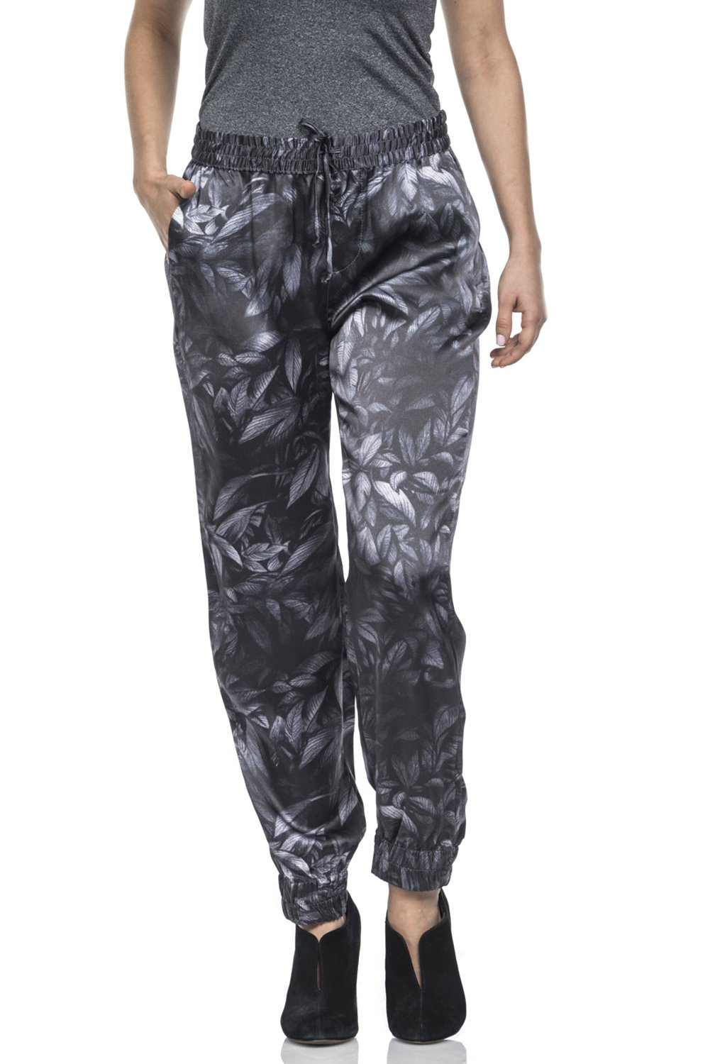 artTECA Women's allover Pant, Tones Of Grey and Silver, Large