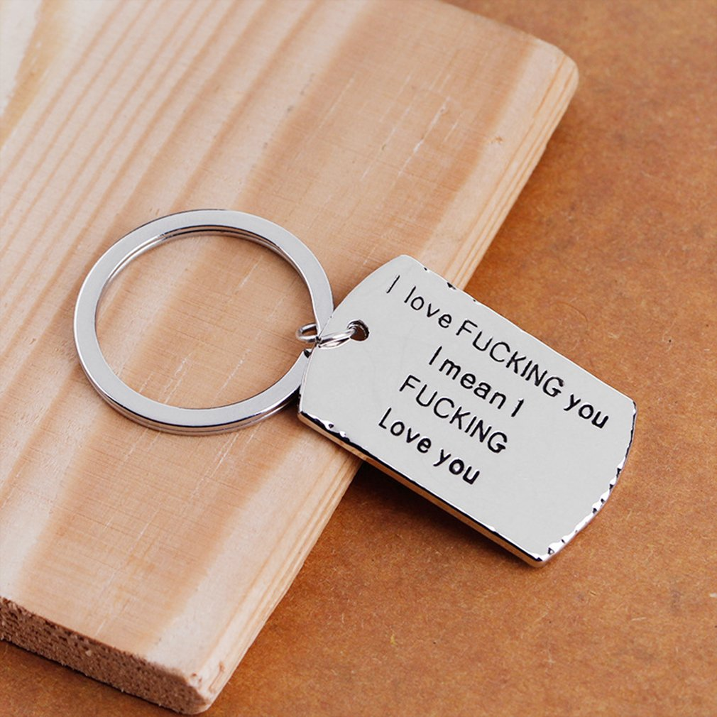 Yesiidor Lettering Key Chain Fashion Inspirational Words Jewelry Couple Valentine Gift