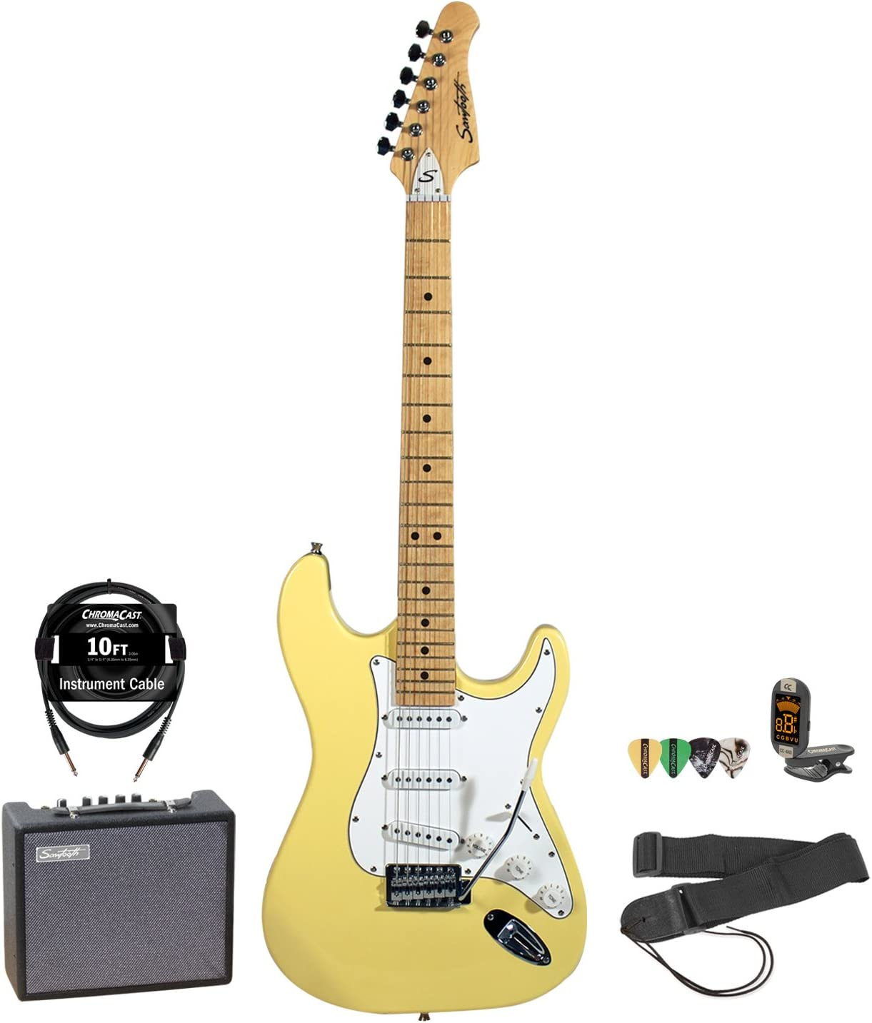 Sawtooth Citron Vanilla Cream Electric Guitar w/White Pickguard - Includes: Accessories & 10-Watt Amp