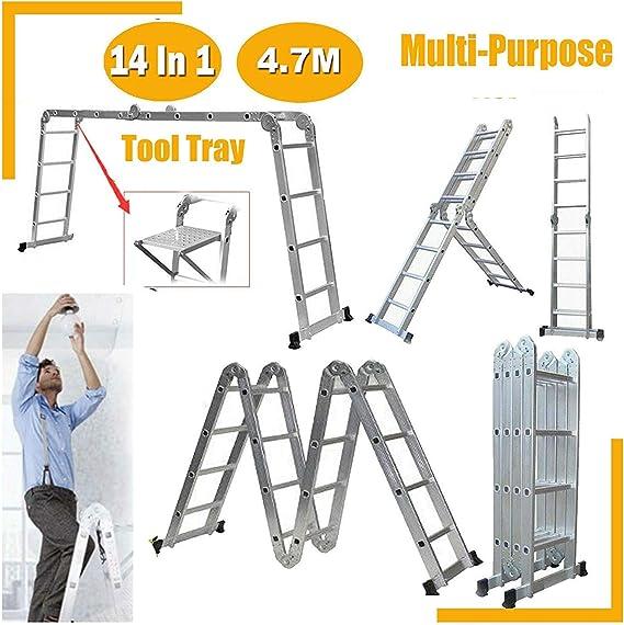 Escalera plegable de aluminio 4.7M Extensión telescópica 14 en 1 multi-función de Altas Prestaciones Escalera plegable antideslizante multiusos de la escalera cubierta exterior compacto for bricolaje: Amazon.es: Bricolaje y herramientas